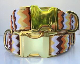 Gold Zigzag Dog Collar