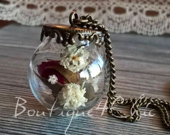 Real Rose necklace, baby's breath, real flower, rose bud, necklace