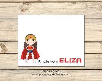PRINTABLE Superhero stationery, Superhero Note Cards, Thank You Cards, Personalized Stationery, Note Cards, Wonder Woman / Digital File