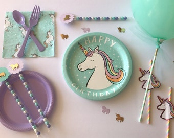 Unicorn Birthday, Unicorn Party, Unicorn Plates, Unicorn Theme, Party in a Box