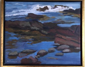 Mainely Rocks, original oil on canvas landscape, 11x13 including frame