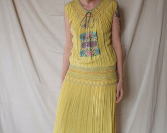 1920's Hand Smocked Drop Waist Dress / Silk / Embroidery / Peasant / Vintage / Hungarian
