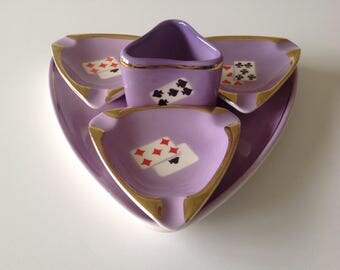 Vintage Lusterware Playing Card Ashtray and Cigarette Holder 5 Piece Set -  FS Romania - Lavender