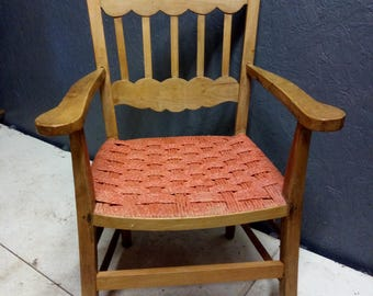 Vintage Red String Seat Farmhouse Chair