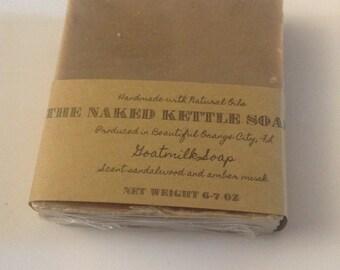 Goat milk soap sandalwood,amber musk scented  big bar 6-7oz