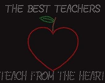 Best Teachers Crystal Rhinestone Ladies T Shirt    or DIY T Shirt Transfer                 V00B