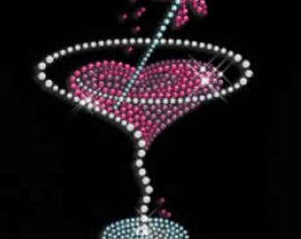 Rhinestone Heart Shaped Drink Lightweight Ladies T-Shirt  or DIY Iron On Transfer        U29Y