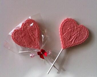 Lollipop Bride and Groom Heart