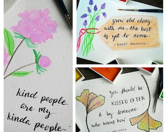SET OF 3 - Classic Quotes Watercolor Handmade Motivational Notecards