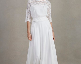 Silk chiffon full wedding skirt - Thyme