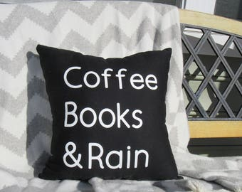 CoffeeBooks&Rain Throw Pillow, Decorative Pillow, Unique gifts, Gift for her, Gift for Woman, Gift for Teen, Birthday Gift, Book Reader Gift