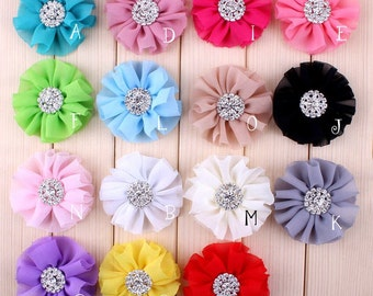 Free Shipping Artificial Chiffon Flowers + Rhinestone Button For Girl Hair Accessories Fabric Flowers For Headbands DIY Flower Supply 6.5cm