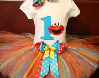 Elmo Birthday Tutu Set, Personalized Birthday Tutu Set, Custom Tutu Set, Sesame Street Tutu Set, 1st Birthday Tutu Set