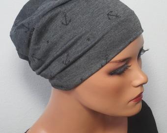 2 in 1 WENDEBEANIE/MÜTZEdunkelgrau m. anchors fashionable practical convenient chemo Cap Chemobeanie hair loss headwear alopecia Yoga