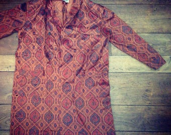 Psychedelic Patterned Kimono Small Brown/Orange