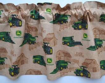 "John Deere, Tan, Brown, Tractor, Farm, Window Valance, Window Curtain, Window Topper, Window Treatment, Valance, New, 42""W x 13""L"