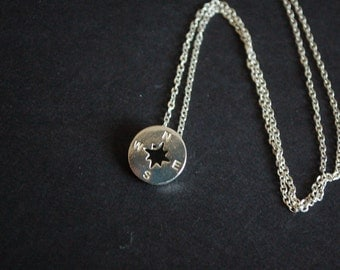silver tone compass necklace
