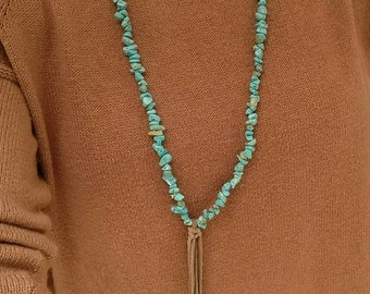 """The """"Taos"""" Turquoise and Leather Fringe Necklace"""