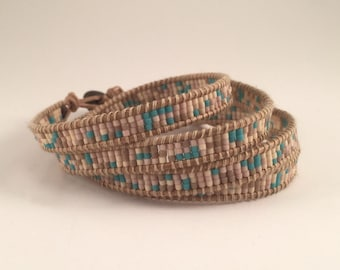 Wrap Bracelet-Blushes and teal seed bead with natural leather