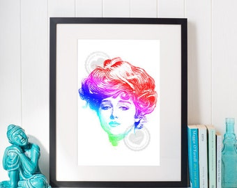 Prismatic Gibson Girl by Savage Heart Press: DIGITAL PRINT.  Rainbow Gibson Girl