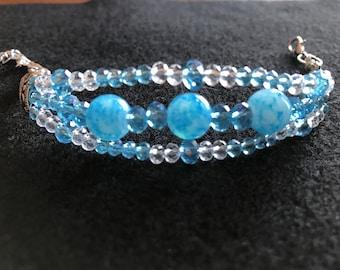 Blue / Teal / Clear Triple-Strand Bracelet