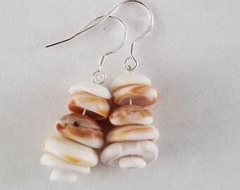 Sterling silver puka shells earrings