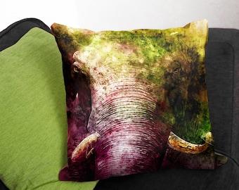 Elephant Head Cushion - Unique Home Decor - Colourful Throw Pillow - Primal Safari Sofa Cushion - Faux Suede Canvas Cushion - Elephant Gifts