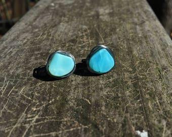 Peruvian Blue Opal Studs