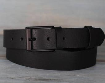 Leather Belt, Black Leather Belt, Men's Belt