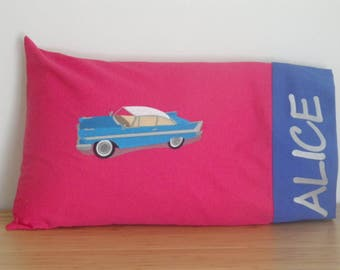 Travel Pillowcase. Embroidered Pillowcase. Personalized Pillowcase. Toddler Pillowcase. Classic Cars Embroidery. 1957 Plymouth Fury