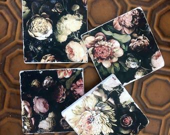 Dark and Moody Floral stone coasters- Ellie Cashman Dark Floral Stone Coasters, set of 4