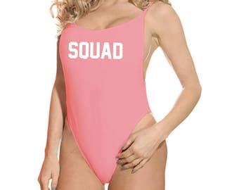 Squad Bathing Suit Squad Swimsuit Bachelorette Swimsuit GNO High Cut Vintage Swimsuit Coral Bathing Suit Coral Swimsuit Juniors Swimsuit