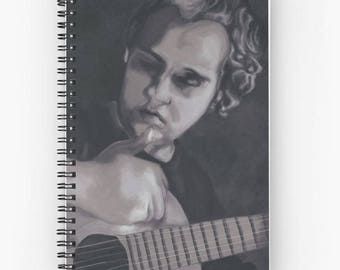 Notebook spiral writing pages lines or dots - art print black and white painting man with guitar - Songbook
