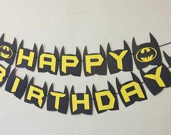Batman Birthday Banner - Batman Party - Batman Theme - Batman Theme Birthday - Batman Name Banner