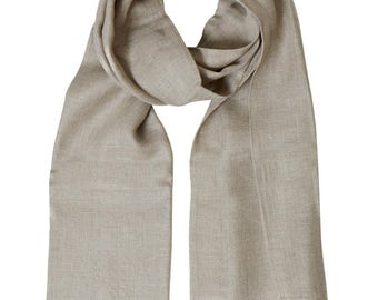 Scarf in linen color natural 45 x 200 cm