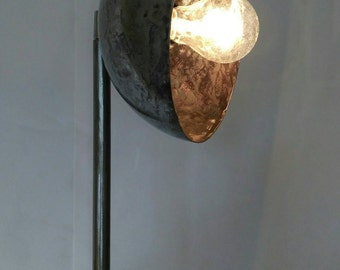 ' 80 Rod iron lamp frosted. Height 175 cm.