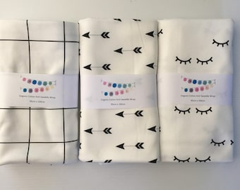 Organic Baby Swaddle Wrap - Monochrome - 3 to choose from!