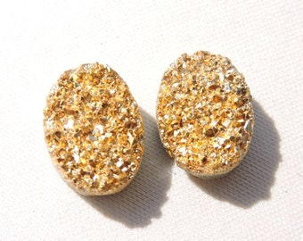 2 Pieces Beautiful Natural Golden Coated Druzy Oval Shaped Loose Gemstone Size 18X14 MM