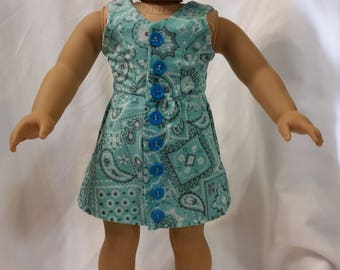 Blue- Green Paisley Sundress with Faux Button Front for 18 inch Dolls