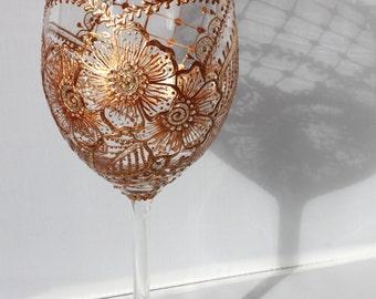 Henna style hand-painted wine glass