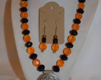 Orange and Black Beaded Jewelry Set with Oxidized Silver Pendant