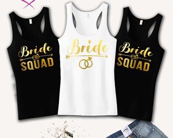 Bride Squad Bachelorette Party Shirts Bridesmaid Tanks Bridal Shower Gift Bride Shirt Bride Squad Tanks