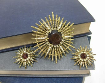 Vintage ART Sunburst Brooch and Clip On Earring Set