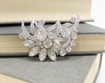 Vintage Eisenberg Ice Rhodium Plated Clear Rhinestone Brooch