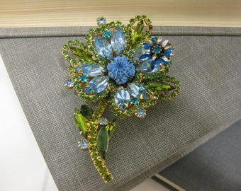 Absolutely Stunning Unique Vintage Flower Brooch With Sparkling Green and Blue Rhinestones