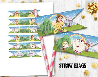 Beauty and the Beast Straw flags Cupcake cake toppers Princess Belle straw flags Printable digital toppers