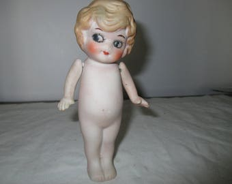 Large FROZEN CHARLOTTE DOLL -  strung arms   -  Bisque