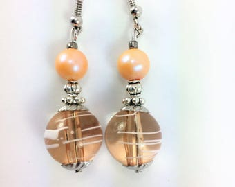 Peach earrings with lg glass beads #88