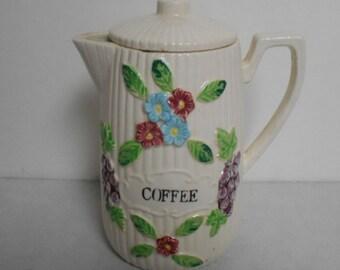 Ceramic Coffee / Tea Pot Raised Floral Japan