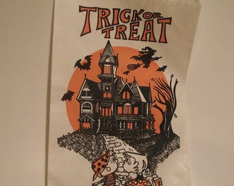 Vintage Halloween Paper Trick or Treat Candy Favor Bag with Haunted House Witch bats full moon Topstone Industries
